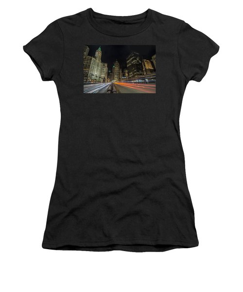 Chicago's Mag Mile Night Streaks Women's T-Shirt
