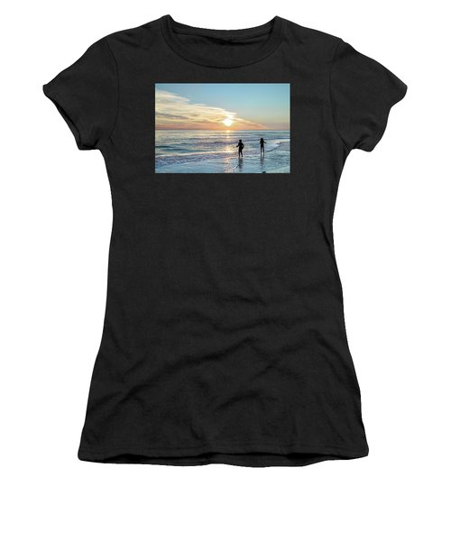 Children At Play On A Florida Beach  Women's T-Shirt (Athletic Fit)