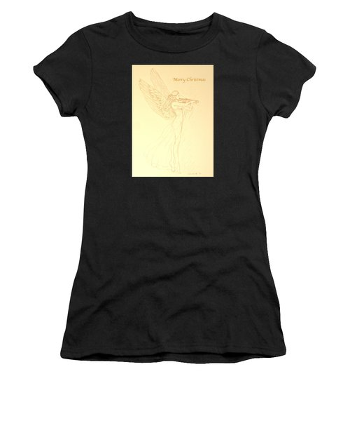 Christmas Angel With Violin Women's T-Shirt (Athletic Fit)