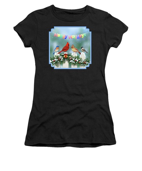 Christmas Birds And Garland Women's T-Shirt (Athletic Fit)