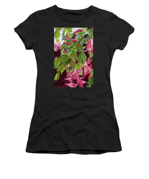 Women's T-Shirt (Athletic Fit) featuring the painting Christmas Cactus by Lynne Reichhart