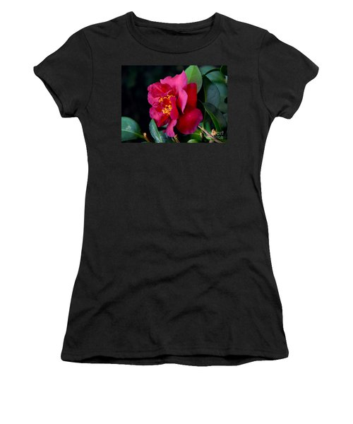 Women's T-Shirt (Junior Cut) featuring the photograph Christmas Camellia by Marie Hicks