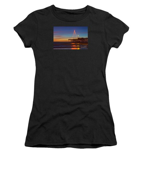Christmas Lights On The Pismo Pier Women's T-Shirt (Athletic Fit)
