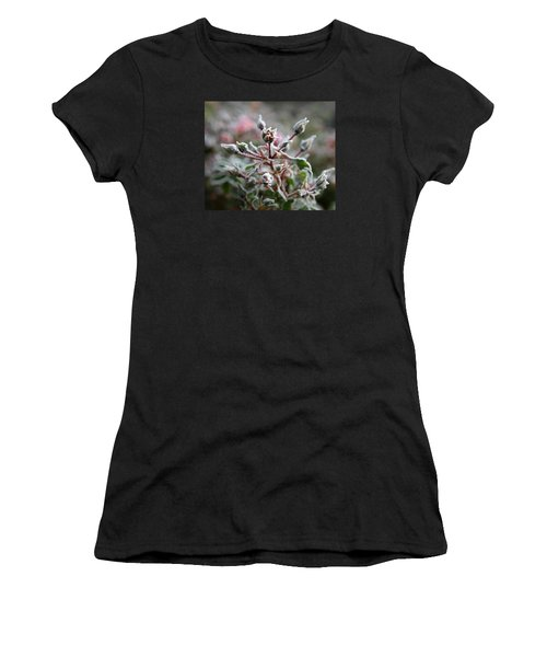Christmas Miniature Rosebuds Women's T-Shirt (Junior Cut) by Katie Wing Vigil