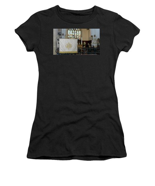 Women's T-Shirt featuring the photograph Christogram Ihs On Pulpit Cloth In Gothic English Church by Jacek Wojnarowski