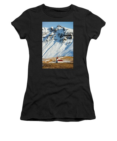 Women's T-Shirt (Athletic Fit) featuring the photograph Church And Mountains In Winter Vik Iceland by Matthias Hauser