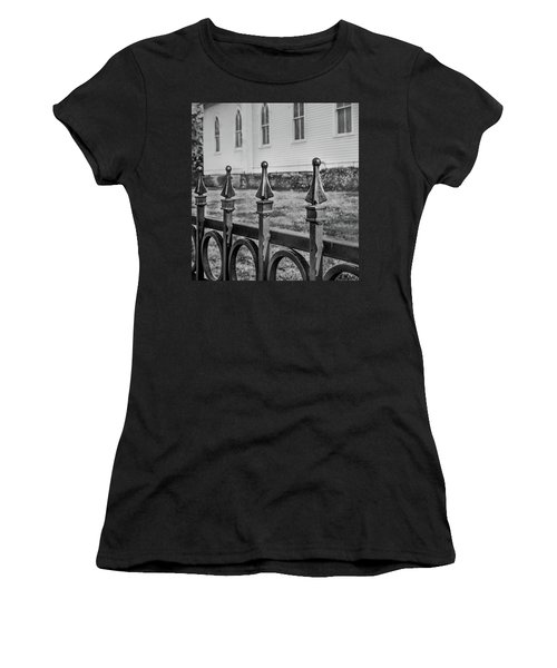 Women's T-Shirt featuring the photograph Church Fence by James Woody