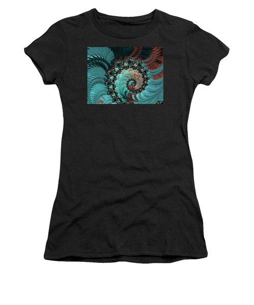 Women's T-Shirt (Junior Cut) featuring the digital art Churning Sea Fractal by Bonnie Bruno