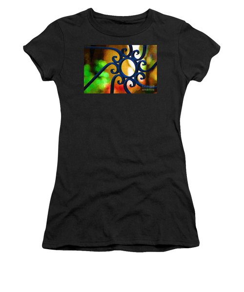 Circle Design On Iron Gate Women's T-Shirt (Junior Cut) by Donna Bentley