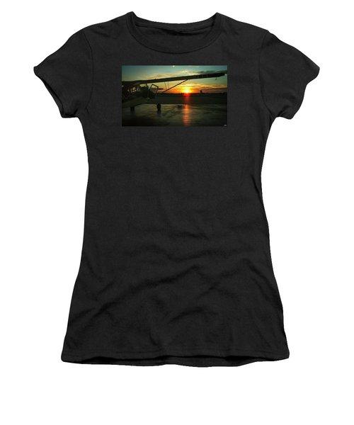 Citabria Peeking Out Of The Hangar Door Women's T-Shirt (Athletic Fit)