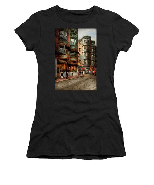 Women's T-Shirt (Athletic Fit) featuring the photograph City - Boston Ma - The North Square by Mike Savad