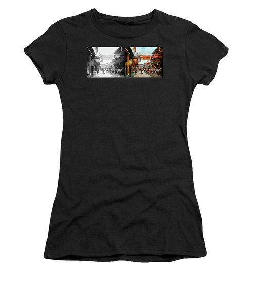 Women's T-Shirt (Junior Cut) featuring the photograph City - Coney Island Ny - Bowery Beer 1903 - Side By Side by Mike Savad