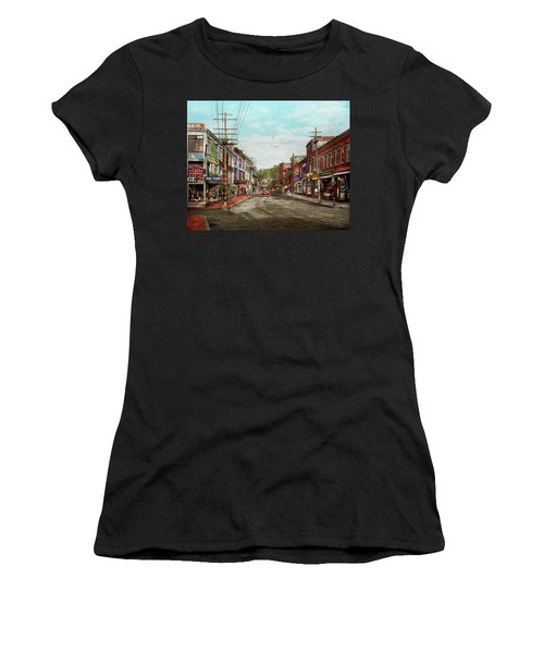 Women's T-Shirt (Athletic Fit) featuring the photograph City - Ma Glouster - A Little Bit Of Everything 1910 by Mike Savad