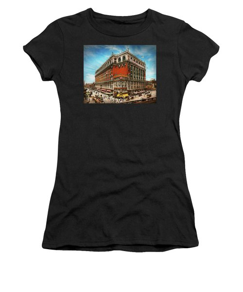 Women's T-Shirt (Athletic Fit) featuring the photograph City - Ny New York - The Nation's Largest Dept Store 1908 by Mike Savad