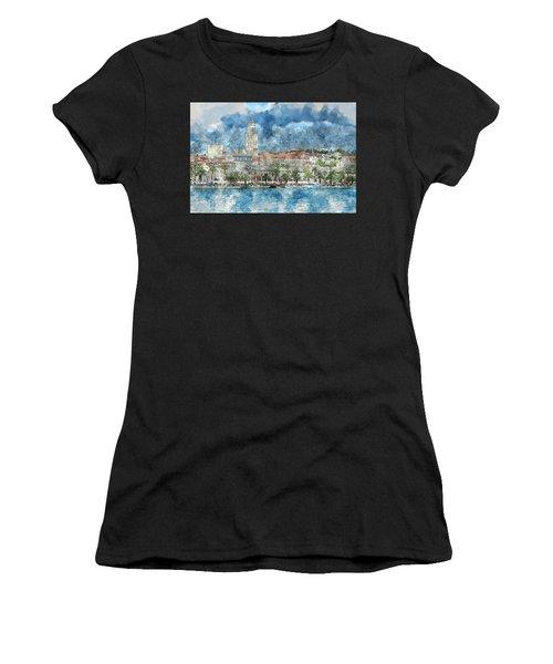 City Of Split In Croatia With Birds Flying In The Sky Women's T-Shirt