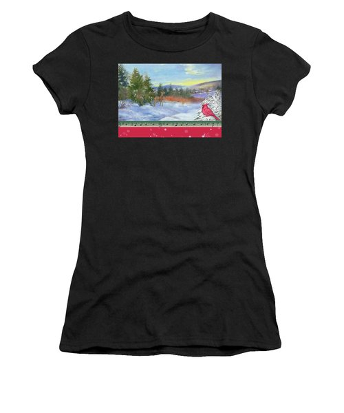 Classic Winterscape With Cardinal And Reindeer Women's T-Shirt (Athletic Fit)