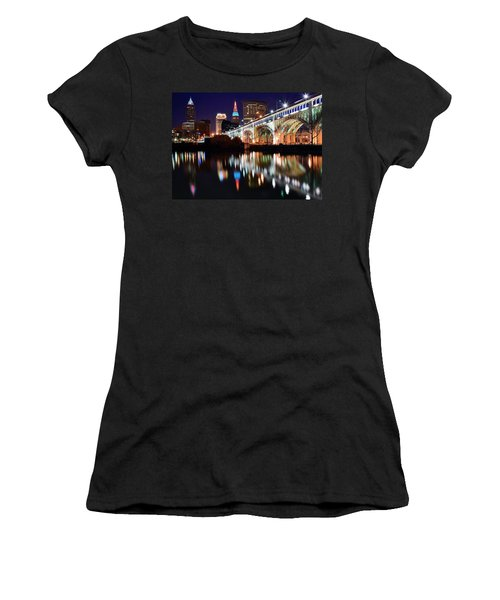 Cleveland Ohio Skyline Women's T-Shirt (Junior Cut) by Frozen in Time Fine Art Photography