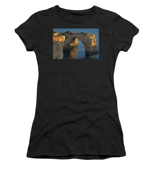Cliff Arch In Albandeira Beach During Sunset 2 Women's T-Shirt (Junior Cut) by Angelo DeVal