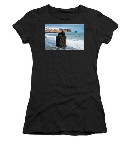 Women's T-Shirt (Athletic Fit) featuring the photograph Cliffs And Ocean In Iceland Reynisfjara by Matthias Hauser