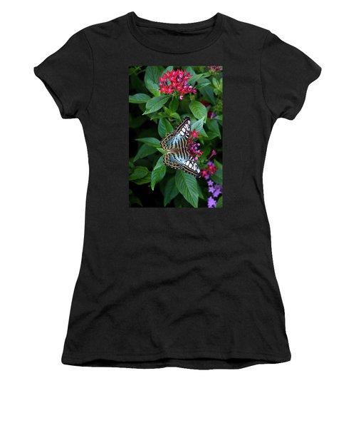 Clipper Butterfly On Star Flower Women's T-Shirt (Athletic Fit)