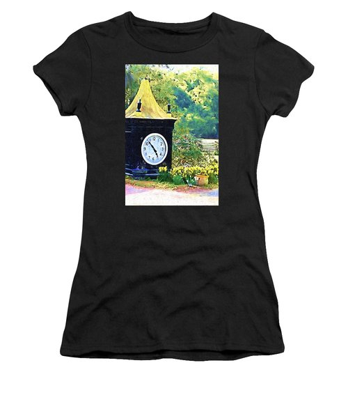 Women's T-Shirt (Junior Cut) featuring the photograph Clock Tower In The Garden by Donna Bentley