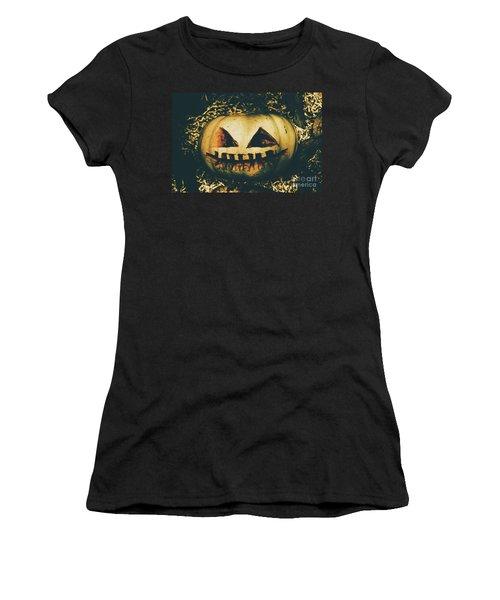 Closeup Of Halloween Pumpkin With Scary Face Women's T-Shirt