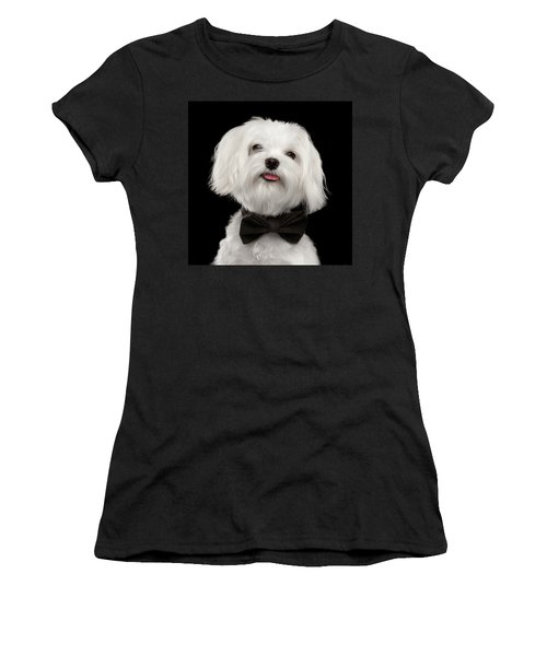 Closeup Portrait Of Happy White Maltese Dog With Bow Looking In Camera Isolated On Black Background Women's T-Shirt