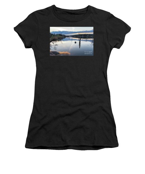 Clouds Reflecting On Large Lake During Sunset Women's T-Shirt