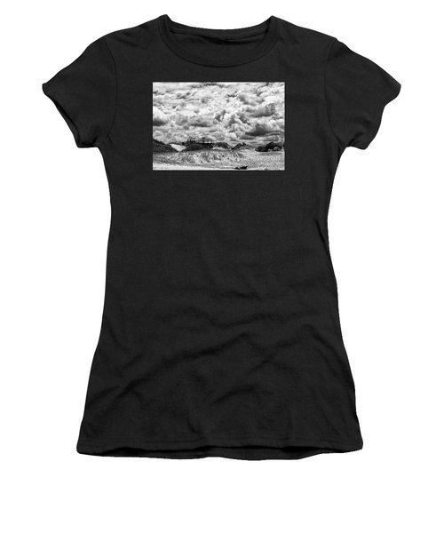 Women's T-Shirt (Junior Cut) featuring the photograph Cloudy Beach Black And White By Kaye Menner by Kaye Menner