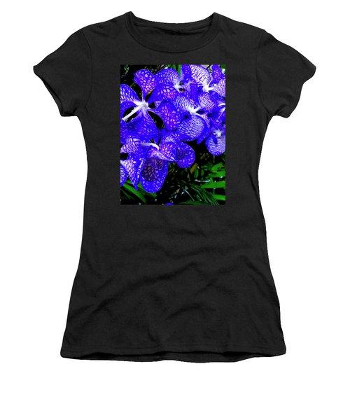 Cluster Of Electric Blue Vanda Orchids Women's T-Shirt