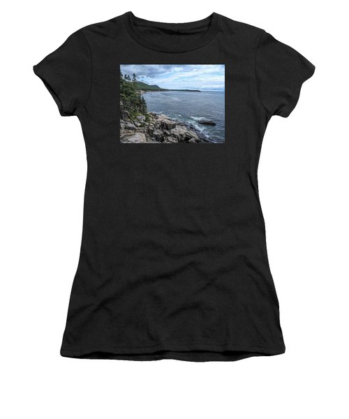 Coastal Landscape From Ocean Path Trail, Acadia National Park Women's T-Shirt