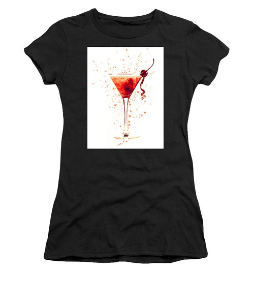 Cocktail Drinks Glass Watercolor Red Women's T-Shirt (Athletic Fit)