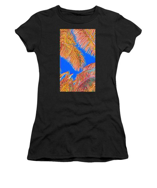 Coconut Palms In Red And Blue Women's T-Shirt