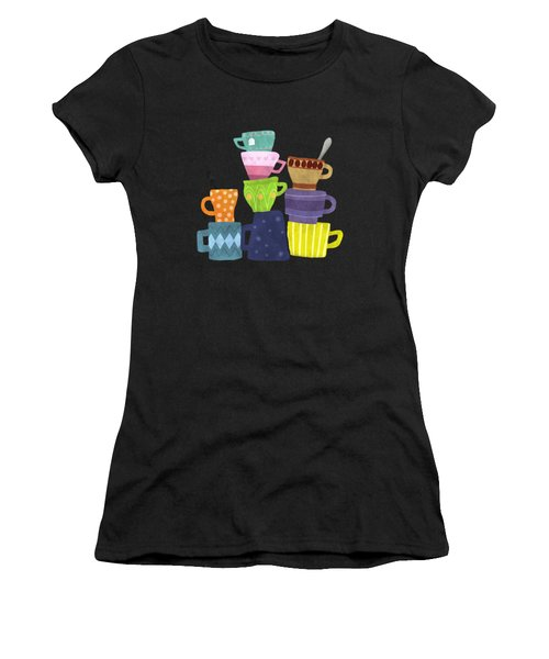 Coffee And Tea Cups And Mugs Stacked High  Women's T-Shirt