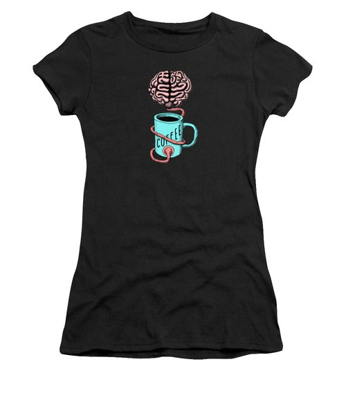 Coffee For The Brain Funny Illustration Women's T-Shirt (Athletic Fit)