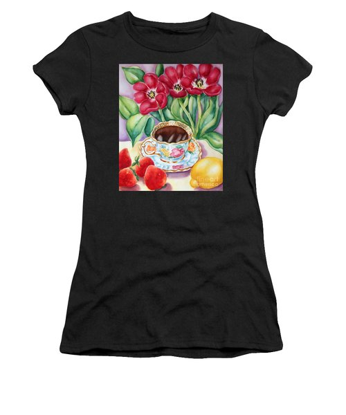 Women's T-Shirt (Junior Cut) featuring the painting Coffee With Flavour by Inese Poga