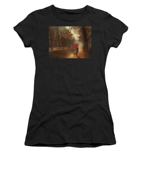 Cold Autumn Morning Painting Women's T-Shirt (Athletic Fit)