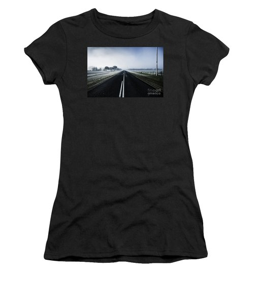 Cold Blue Winter Road Women's T-Shirt