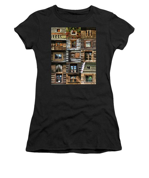Collage From Handmade Traditional Wooden  Windows In Village Museum Bucharest Women's T-Shirt