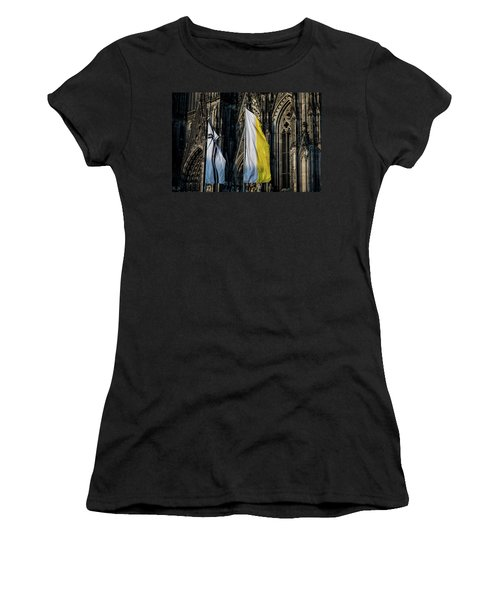 Cologne Cathedral Flags Women's T-Shirt (Athletic Fit)