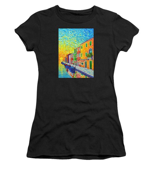 Colorful Burano Sunrise - Venice - Italy - Palette Knife Oil Painting By Ana Maria Edulescu Women's T-Shirt