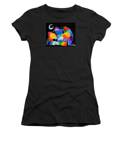 Colorful Cat In The Moonlight Women's T-Shirt (Junior Cut) by Nick Gustafson