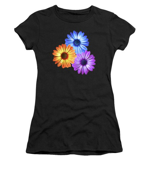 Colorful Daisies With Water Drops On Black Women's T-Shirt (Athletic Fit)