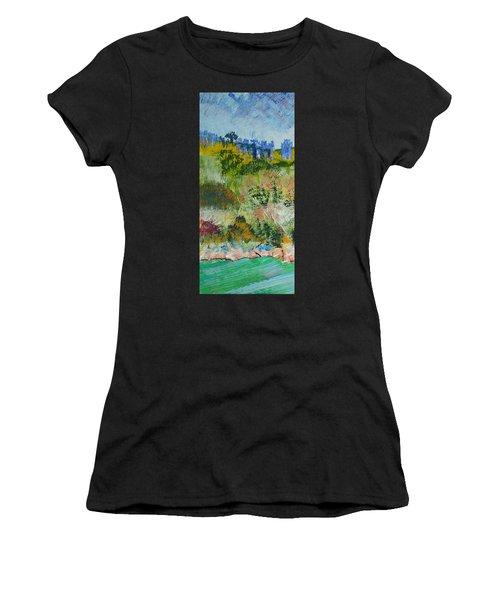 Colorful Forest On Cliffs Near The Sea In Dartmouth Devon Women's T-Shirt