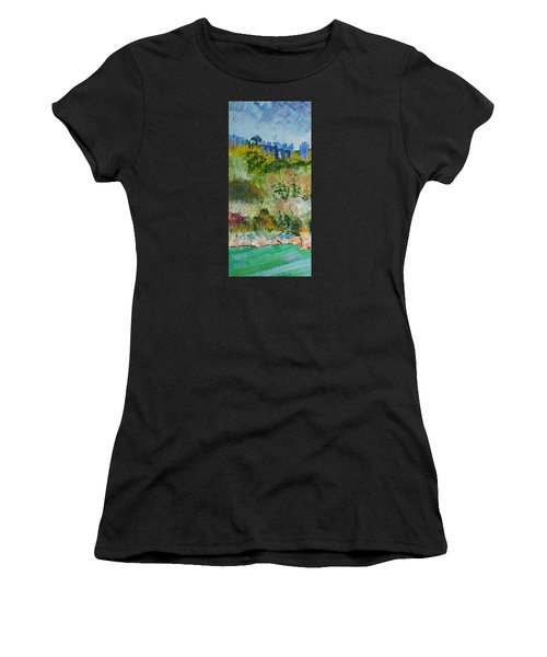 Colorful Forest On Cliffs Near The Sea In Dartmouth Devon Women's T-Shirt