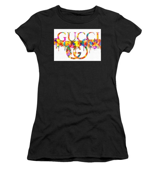 Women's T-Shirt featuring the painting Colorful Gucci Paint Splatter by Dan Sproul