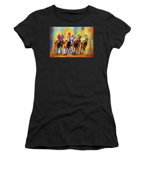 Colorful Horse Racing Impressionist Paintings Women's T-Shirt