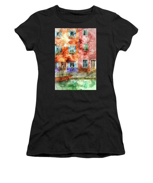 Colorful Houses In Burano Island, Venice Women's T-Shirt