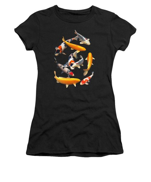 Colorful Japanese Koi Vertical Women's T-Shirt (Junior Cut) by Gill Billington