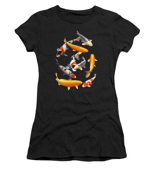Colorful Japanese Koi Vertical Women's T-Shirt (Junior Cut)